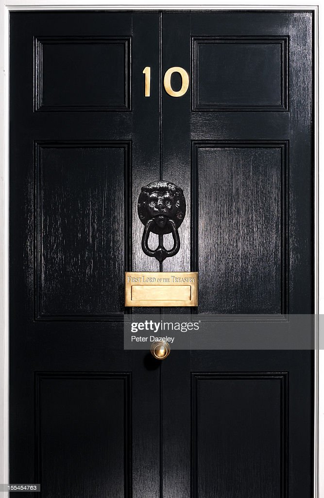 Front door, 10 Downing Street, close up : Stock Photo