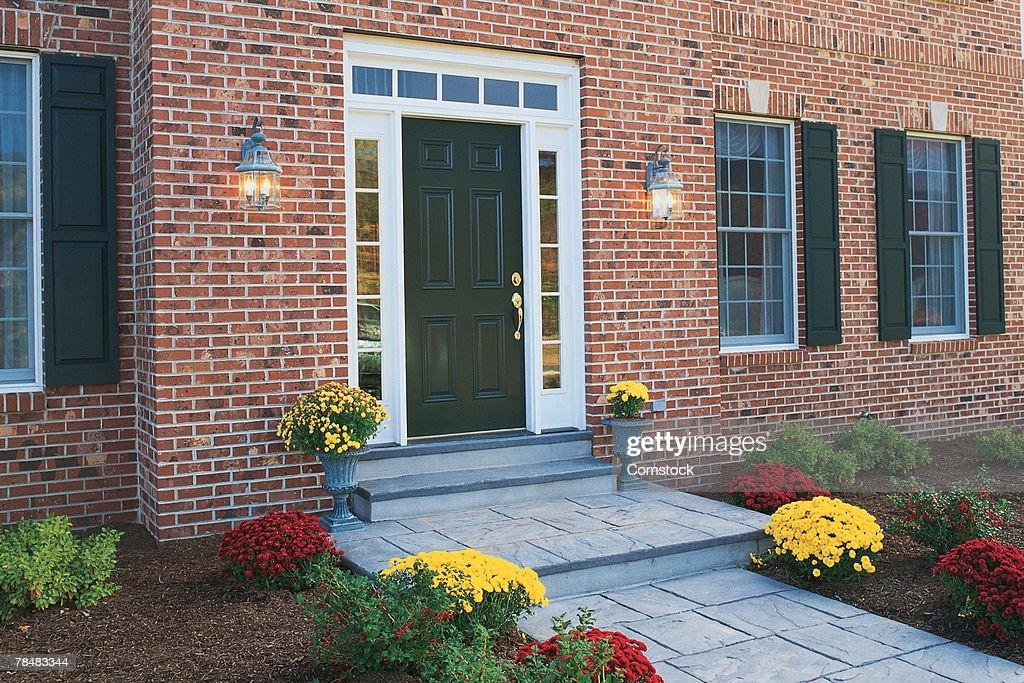 Front door of house : Stock Photo
