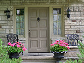 front door of house with flower pot