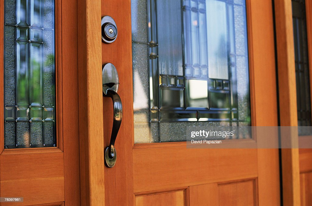 Front door of new home : Stock Photo