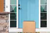 beautiful part of a blue door with package