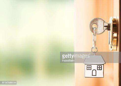 Front door with house keys : Stock Photo