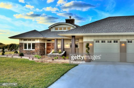 Unique House Front Elevation : Front elevation custom home with landscaping stock photo