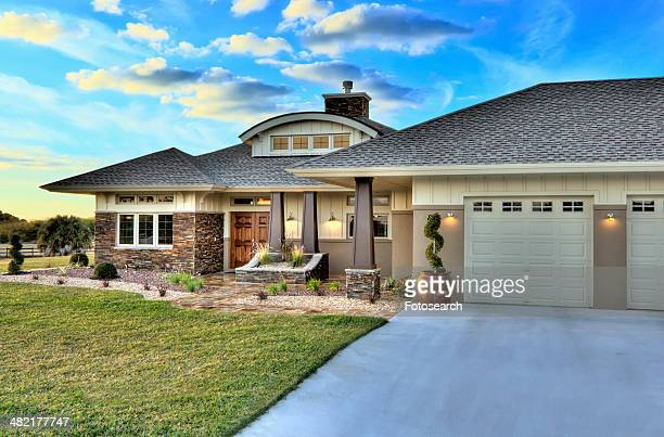 Front elevation custom home with landscaping