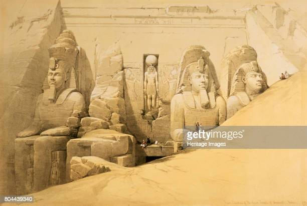 Front elevation of the Great Temple of Abu Simbel Nubia' Egypt 1849 Colossal statues at the entrance to the Temple of Abu Simbel built during the...