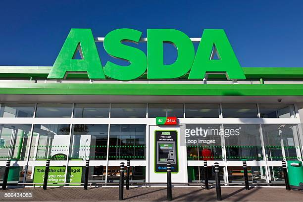 Front entrance and sign at main entrance of an ASDA retail supermarket in Dorset