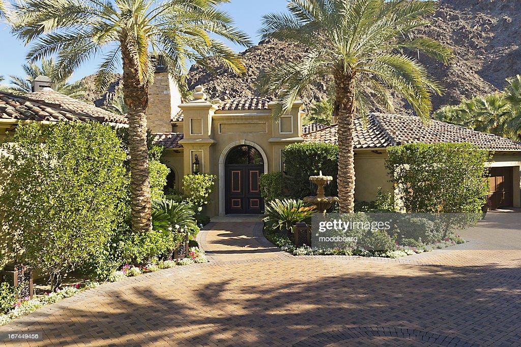 Front entrance facade of luxury villa : Stock Photo