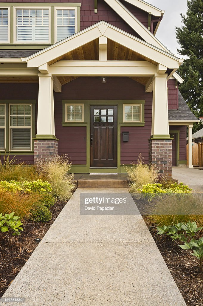 Front entrance to classicstyle american home stock photo for American classic house style