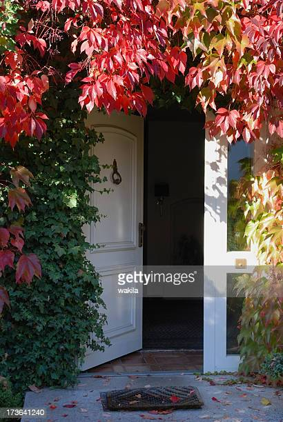 front entrence door in autumn