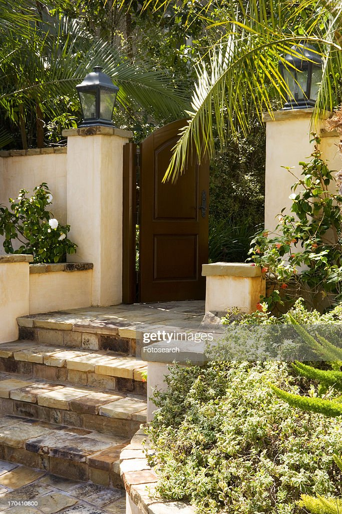 Front Gate And Steps To Spanish Style Home Stock Photo Getty Images