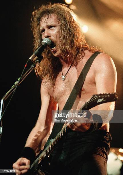 Front man James Hetfield of Metallica performing at Cow Palace in San Francisco Calif on May 10th 1992 Image By Tim Mosenfelder/ImageDirect