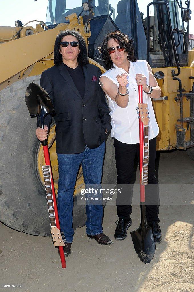 KISS front Men Gene Simmons (L) and Paul Stanley host Rock & Brews Buena Park, California Restaurant Groundbreaking on March 30, 2015 in Buena Park, California.