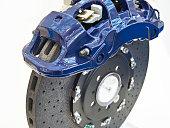 Front monoblock six piston aluminium caliper and carbon ceramic brake disc