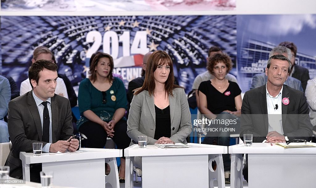 Front National farright party vicepresident Florian Philippot French Green Party Europe Ecologie Les Verts European MP Sandrine Belier and former...