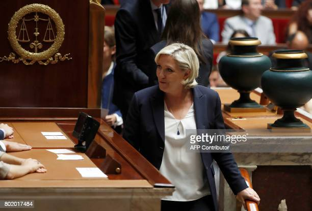 Front National farright party's Member of Parliament at the national assembly Marine Le Pen attends the inaugural session of the 15th legislature of...