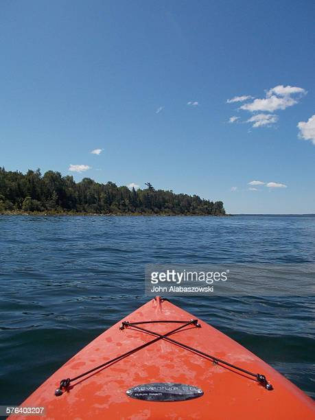 Front of a kayak on Georgian bay.