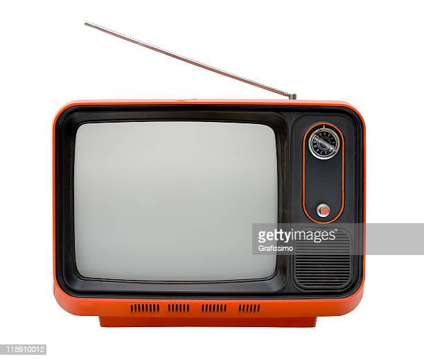 Front of an old orange TV