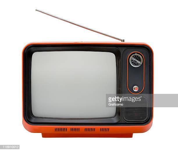 Vor einer alten orange-Fernseher