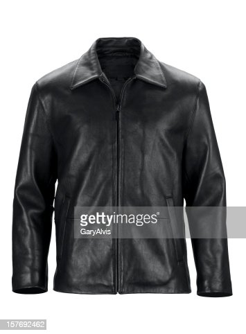 Front of black leather jacket-isolated on white w/clipping path