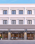 Front of classical style commercial building 3d render.There are a street shop, The building has classical style with gray and white color. The front store has footpaths and table sets.