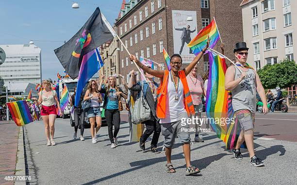 Front of the parade Parade closing the Rainbow festival Malmö Pride 2015 After a week long Pride festival a parade through the streets of Malmö with...