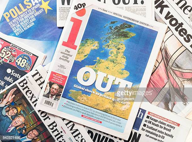 Front page headlines in the UK following Brexit referendum  resu