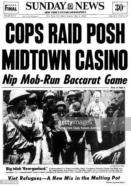 Front page New York Daily News May 4 COPS RAID POSH MIDTOWN CASINO Nip MobRun Baccarat Game