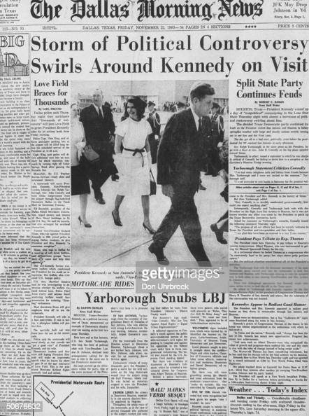 Front page of Dallas Morning News showing John F Kennedy and wife on day of assassination