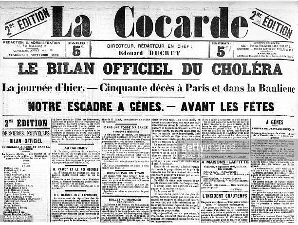 Front page of 'La Cocarde' newspaper official report of the cholera epidemics September 9th 1892