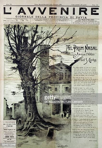 Front page of L'Avvenire Pavia provencial newspaper December 2425 drawing by Antonio Oberto depicting the elm outside St Gervase and dialect poem by...