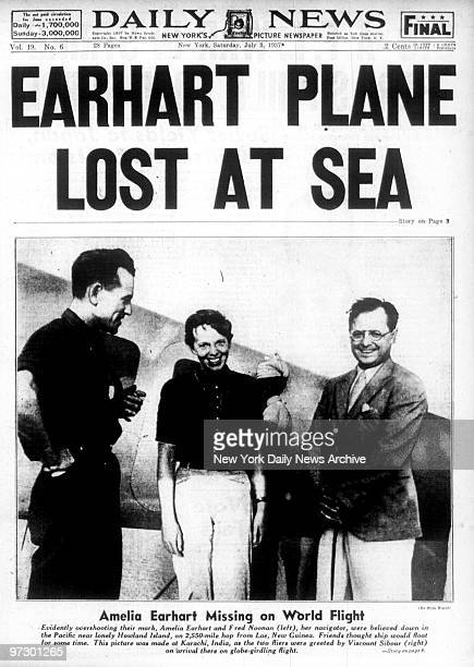 Front page of the Daily News dated July 3 Headline EARHART PLANE LOST AT SEA Subhead Amelia Earhart Missing on World Flight