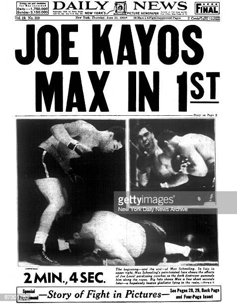 Front page of the Daily News dated June 23 Headline JOE KAYOS MAX IN 1ST Joe Louis knocks out Max Schmeling in the first round of their boxing match