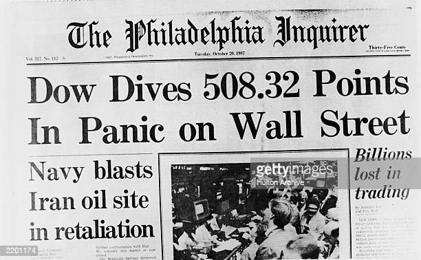 Front page of 'The Philadelphia Inquirer' the day of the 1987 stock market crash October 20 1987