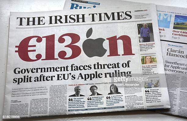 A front page story in the August 31 2016 issue of The Irish Times newspaper examines the European Commission action ordering Apple Inc to pay Ireland...