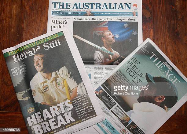 Front pages of the Melbourne daily newspapers showing headlines surrounding the death of Phillip Hughes on November 28 2014 in Melbourne Australia...