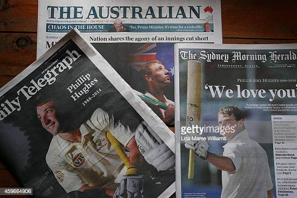 Front pages of the Sydney daily newspapers showing headlines surrounding the death of Phillip Hughes as seen on November 28 2014 in Sydney Australia...