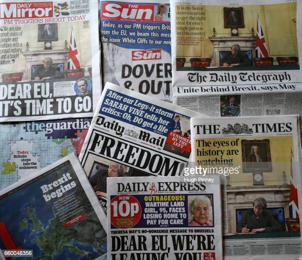Front pages of UK newspapers on the day that British Prime Minister Theresa May triggers Article 50 the process of extracting the UK from the...