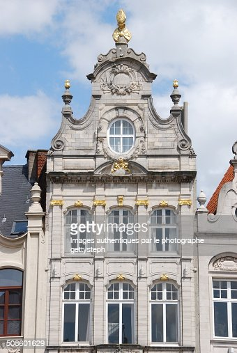 Front pediment with gold gilt : Stock Photo
