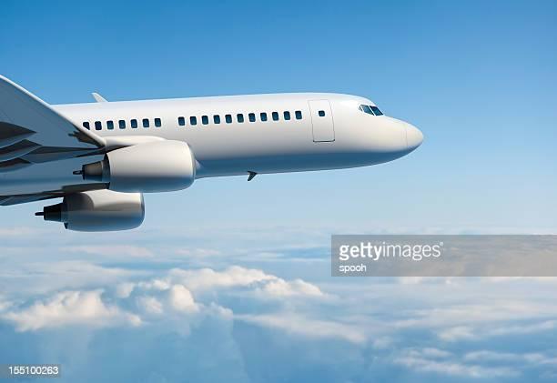 Front pf passanger airplane during flight.