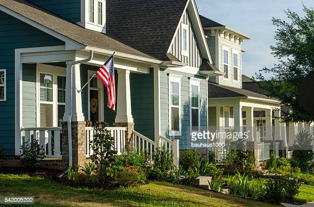 Front Porch with an American Flag