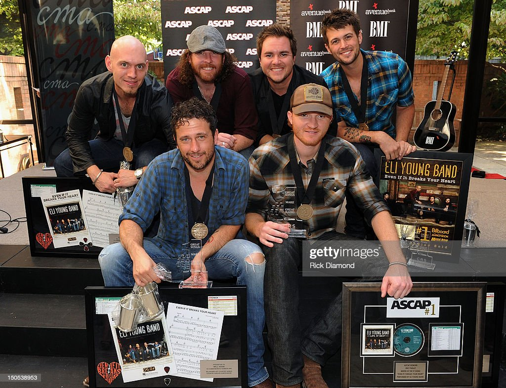 Songwriter Will Hoge (BMI) and Songwriter Eric Paslay (ASCAP) are honored for there #1 hit 'Even if it breaks your heart' recorded by Republic Nashville recording artists Eli Young Band: Jon Jones, James Young, Mike Eli and <a gi-track='captionPersonalityLinkClicked' href=/galleries/search?phrase=Chris+Thompson+-+American+Drummer&family=editorial&specificpeople=15384690 ng-click='$event.stopPropagation()'>Chris Thompson</a> at the CMA offices on August 20, 2012 in Nashville, Tennessee.