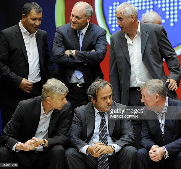 Front Row Arsenal's Arsene Wenger UEFA President Michel Platini Manchester United's Sir Alex Fergusonand Back Row Panathinaikos' Henk Ten Cate AFC...