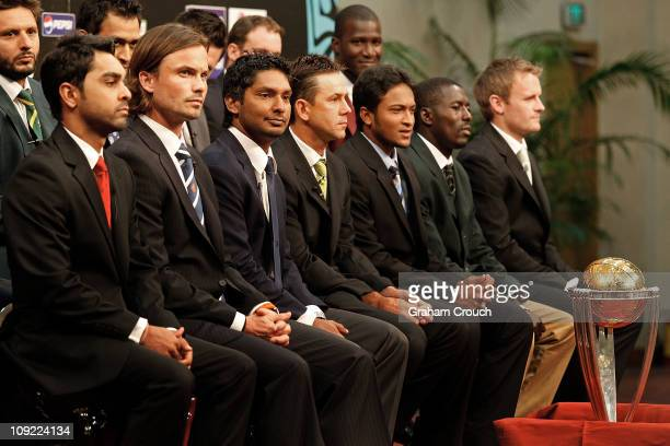 Front row Ashish Bagai of Canada Bas Zuiderent of The Netherlands Kumar Sangakkara of Sri Lanka Ricky Ponting of Australia Shakib Al Hasan of...