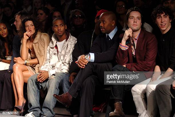 Front Row Cam'ron Damon Dash and Rufus Wainwright watching runway at Marc Jacobs Fall 2006 Fashion Show at NY State Armory on February 6 2006 in New...