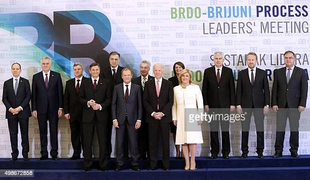 Front row Croatian President Kolinda GrabarKitarovic US VicePresident Joe Biden European Council President Donald Tusk Slovenian President Borut...