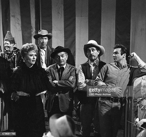 Front row from left Amanda Blake as Kitty Russell Milburn Stone as Doc Adams Ken Curtis as Festus Haggen and Burt Reynolds as Quint in the GUNSMOKE...