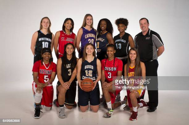 Front row from left Mykea Gray National Christian Jasmine Whitney Paul VI Lindsey Pulliam Good Counsel Jada Graves Edison Alex Marquis Oakton Back...