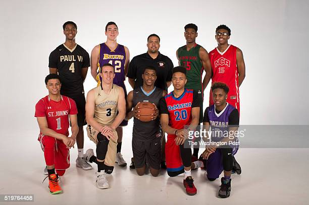 Front row from left Player of the Year Anthony Cowan Jr St Johns Tyler Scanlon Westfield Naji Marshall Eleanor Roosevelt Markelle Fultz DeMatha Chris...