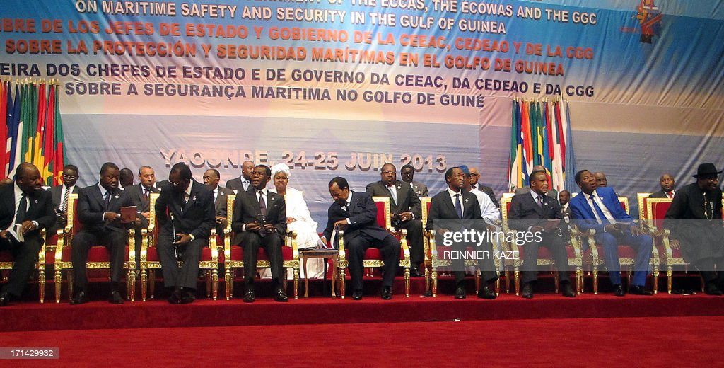 Presidents Ali Bongo Ondimba of Gabon, Faure Gnassingbe of Togo, Idriss Deby Itno of Chad, Theodoro Obiang Nguema of Equatorial Guinea, Paul Biya of Cameroon, Blaise Compaore of Burkina Faso, Denis Sassou of Congo, Thomas Yayi Boni of Benin and Goodluck Jonathan of Nigeria attend on June 24, 2013 the opening in Yaounde of a meeting of West and Central African leaders on maritime security in the pirate-infested Gulf of Guinea. Leaders of the Economic Community of West African States (ECOWAS) and the Economic Community of Central African States (ECCAS) are to deliberate on new proposals and a joint action plan to tackle piracy and maritime criminality in the region. AFP PHOTO / Reinnier KAZE