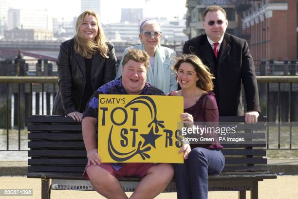 Front Row from left radio DJ Jono Coleman television presenter Claire Sweeney Independent Promotions manager Niki Sanderson stage school founder...